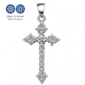 China 2013 Latest Nice Cross Pendants/Pretty Solid Sterling Silver Cross CZ Pendants For Girls on sale