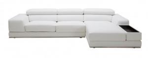 China Divani Casa Chrysanthemum Mini Modern White Leather Sectional Sofa on sale