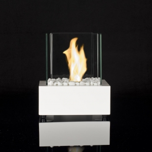 China Designer's Burners & Bowls Glass Cube II White Table Fire on sale