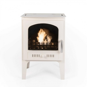 China Freestanding Fireplaces NEW - Log Burner Effect Cream Traditional Bio Ethanol Stove on sale