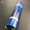 China 500D 18x17 0.40 Thickness Waterproof PVC Blue Striped Tarpaulin Fabric Manufacturers for sale