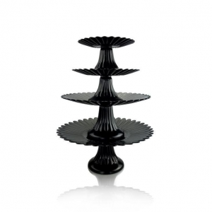 China GlassTumbler Glass Serveware 4 Tier Black Cake Stand on sale