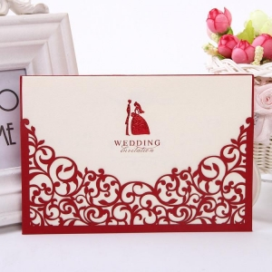 China LMWI-002 Bride & Groom Invite Bride & Groom Red Laser cut Wedding Invitation Cards on sale
