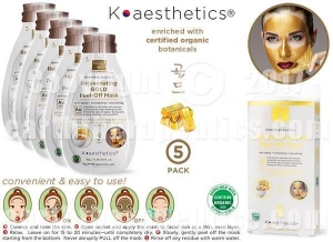 China SKIN THERAPY K-aesthetics Organic Rejuvenating Gold Peel-Off Mask - 5pk on sale