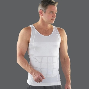 China Men's Body Shaper Slimming Elastic Shirt Body Shapewear - White on sale
