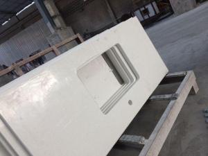China Prefab White Sparkle Quartz Stone Countertop on sale