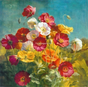 China Canvas prints Vivid poppies flowers printed on canvas on sale