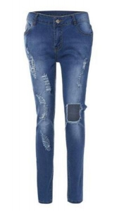 China Damaged Patched Ripped Lady Skinny Fit Denim Jeans on sale