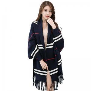 China Women fashion winter scarf horizontal stripe design blanket pashmina shawl ponchos cotton scarf on sale