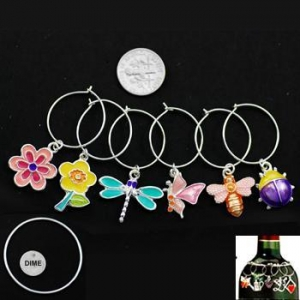 China Bugs and Flowers Enameled Wine Charms, set/6 on sale