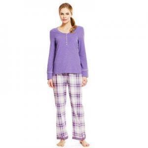 China Shirts Ladies Pyjama Top and Woven Checked Pyjama Bottoms Cotton Pyjama on sale