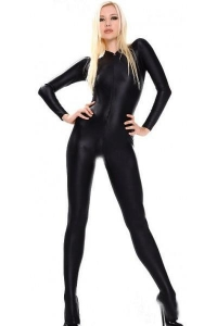 China Black Fullbody Front Zipper Spandex Tight Zentai Suit Cosplay Halloween Costumes on sale