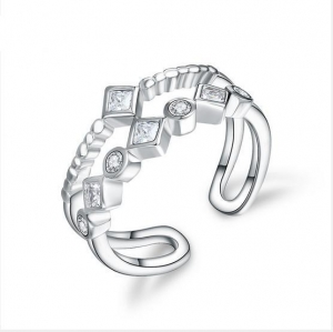 China 925 Sterling Silver Ring Top Grade Ring Korea Style Micro Setting Ring with Zircon Openning Ring on sale