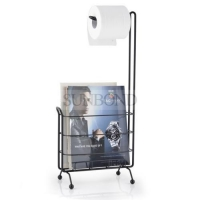 China Black Toilet Paper Standing Roll Paper Holder with Magazine Rack on sale