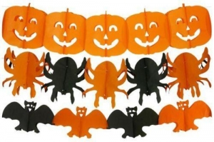 China 3 Halloween Paper Garlands - Decoration Banner Bunting Party Bat Pumpkin on sale