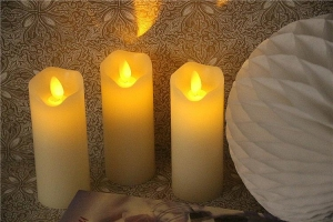 China Battery Operated Flicker Real Wax LED Candle with Dancing Flame on sale