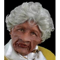 China Moving Mouth Auntie Old Lady Silver Hair African American Supersoft Halloween Costume Mask on sale