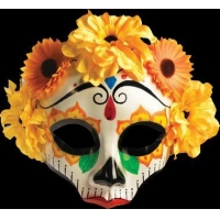 China Halloween Masks Day of the Dead Sugar Skull Female Yellow Halloween Costume Face Mask on sale