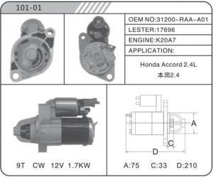 China starter HONDA starter motor 31200-RAA-A01 17696 101-01 on sale