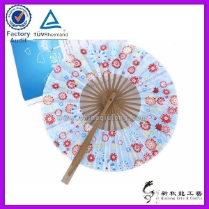 China Round Gifts Crafts Folding Bamboo Hand Fan on sale
