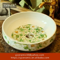China Jingdezhen bowl shaped washbasin flower patterned vessel sink on sale