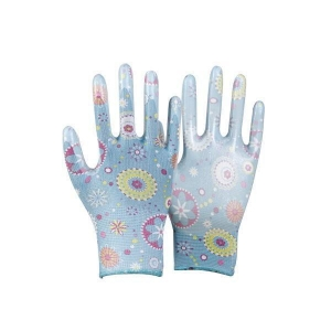 China NBR coated glove Name:Sublimation printed glove shell, clear nitrile coated on palm glove on sale