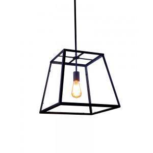 China Retro Industrial Metal Framed Glass Box Pendant Light on sale