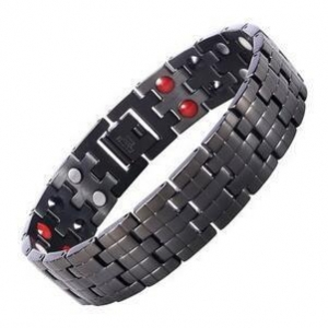 China Men's 16MM Black Stainless Steel Magnetic Bracelet Negative Ion Germanium Balance Wristband on sale