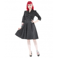China Lucy Half Sleeve Black White Small Polka Dot 1950's Tea Dress on sale