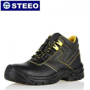 China Black genuine leather waterproof safety shoes s1p standard on sale