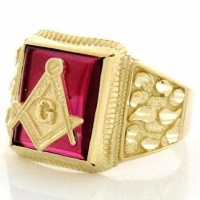 14k Solid Yellow Gold Mens Simulated Ruby Masonic Ring For Wedding Engagement