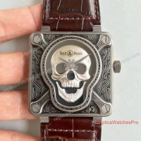 Swiss Clone Bell and Ross Aviation BR 01 Burning Skull 46mm Leather Band Watch