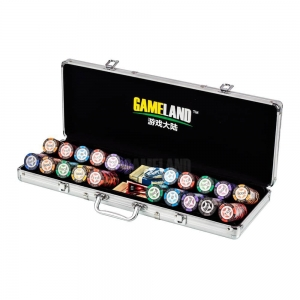 China 500 Pcs Poker Chip Set-13.5g Clay Chips in Aluminum Chip Case with Round Corner on sale