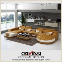 China GANASI 2015 modern leather furniture, gold color furniture on sale