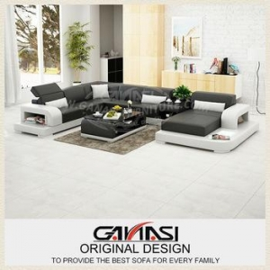 China GANASI living room furniture china,leather sectional sofa with chaise,small leather furniture on sale