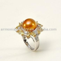 China Sterling Silver, Citrine, CZ, Freshwater Pearl Ring PJRI1664 on sale