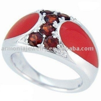 Garnet Red Enamel Sterling Silver Ring PMRI1888