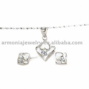 China Latest 925 sterling silver Gemstone birthstone heart Pendant/Earrings Jewelry Set PMJS1893 on sale