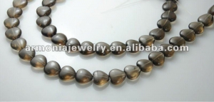 China Lovely Puffy Heart Smoky Quartz Crystal Beads Strands on sale