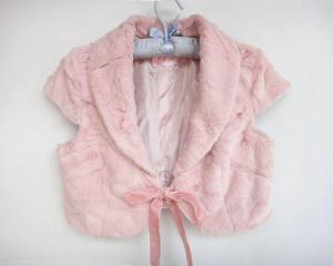 China Sweet Kids Baby-girls Women Tied Ribbon Bow Faux Fur Bolero Sleeveless Jacket Shrug Vest on sale