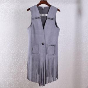 China Summer Coat High-end European Hollow Suede Fringed Long Cardigan Vest Women Waistcoat Female on sale