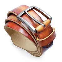 "1.3"" Width Mens Genuine Leather Belt with Pin Buckle Adjustable Belt - Black Gift Box"