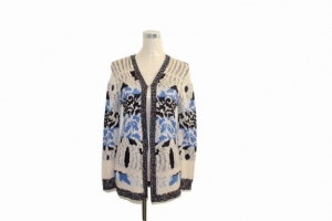 China Sweater Blended Embroidered Pattern Wrap Sweater on sale