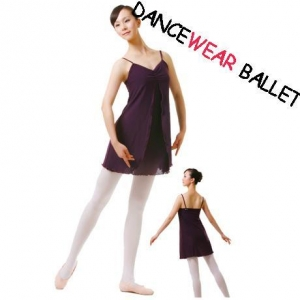 China Dancewear Ballet Lyrical Two Layers Fitness Dress Chiffon Dance Skirt With Camisole Top on sale