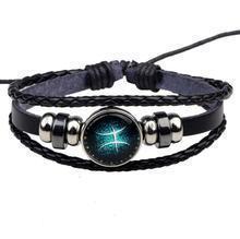 China The ZODI - PU Leather Braided Star Sign Zodiac Bracelet on sale
