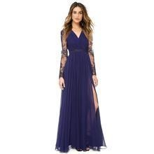 China The LIVA - Elegant Blue V-Neck Lace Embroidery Chiffon Long Dress on sale