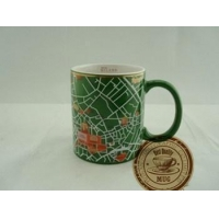11oz decal printed green ceramic mug