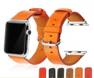 China France Calf Leather Strap Cuff Bracelet Fit for Apple 42mm on sale