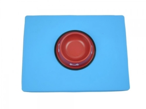 China Pet Bed & Mat Blue Silicone Pet Food Mat G110-02 on sale