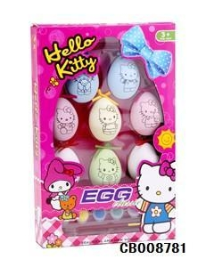 China Girl Toys Hellokitty DIY color painted egg toy on sale